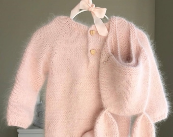Sitter baby romper - Angora romper - Baby girl romper - Bunny outfit - Toddler bunny - Baby bonnet - Bunny bonnet - Angora bunny bonnet-Pink