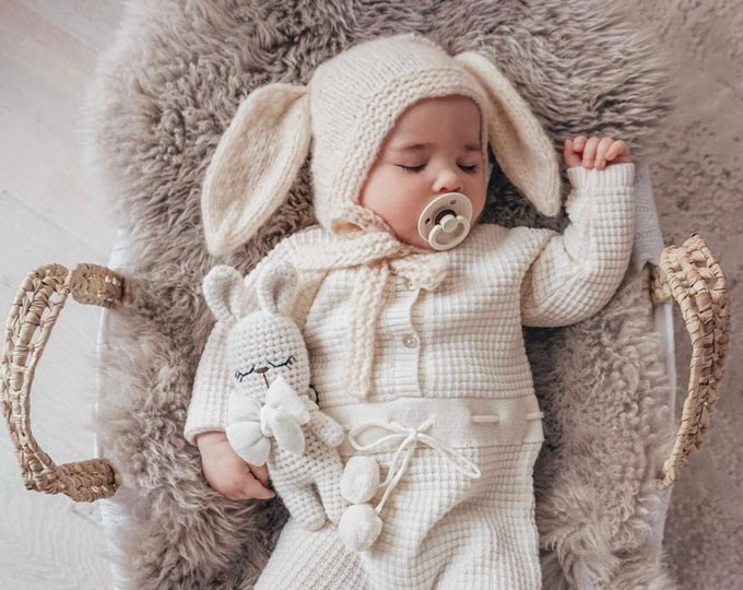 Featured listing image: Bunny  bonnet - Cashmere bonnet - Bunny hat - Toddler baby - Baby girl - Baby boy - Girl hat - Boy hat - Toddler bunny - Toddler hat