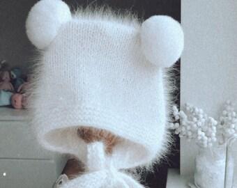 Pom pom bonnet  - Angora bonnet - Angora pom pom hat - Toddler bear - Baby girl - Girl bonnet - Pom pom  - Toddler hat - Angora - Pure white