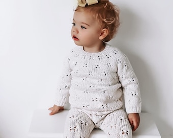 Sitter  baby set - Baby girl - Toddler girl - Toddler pants - Sitter sweater- Baby boy set - Sweater and pants - Cream - Gold - Baby toy