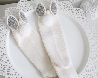 Bunny socks - Baby high knee socks - Knitted socks - Baby socks - Bunny socks - Merino - Cream - Baby girl - High knee socks
