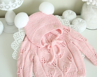 18-24 months - set of 2 - Pom Pom bonnet - Baby sweater - Baby jumper - Baby girl - Girl outfit - Merino sweater - Pink jumper and bonnet