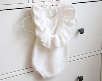Angora ruffle romper - Baby girl - Toddler romper - Toddler baby - Angora romper - Baby girl romper - White angora - Fluffy romper