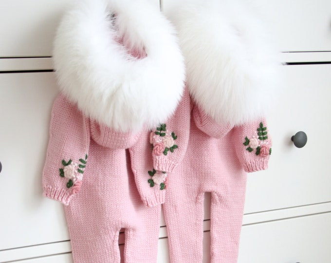 Featured listing image: Baby girl romper with fur trim - Baby romper  - Baby girl - Long legs romper with footies - Romper with fur trim hood - Baby girl - Pink