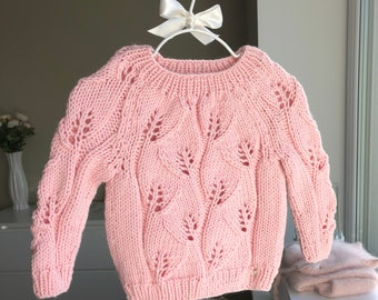 12-18 months girl  - Merino jumper - Baby girl - Baby sweater - Toddler jumper - Toddler baby - Baby girl sweater - Pink - Merino