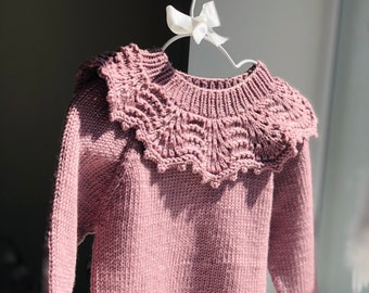 18-24 months girl  - Merino jumper - Baby girl - Baby sweater - Toddler jumper - Toddler baby - Baby girl sweater - Old rose pink - Merino
