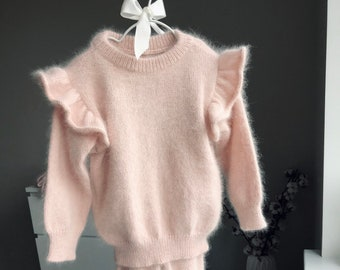 18-24 months  - Baby girl outfit - Baby girl set - Winter girl outfit - Girls knitting set - Angora - Pale pink - Baby girl - Ruffles