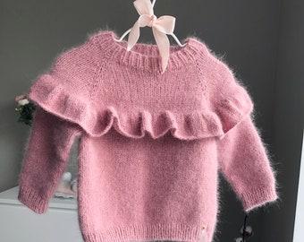 12-18 months Angora jumper - Baby girl - Baby boy - Toddler jumper- Toddler baby - Angora sweater - Baby jumper- White angora -Fluffy jumper