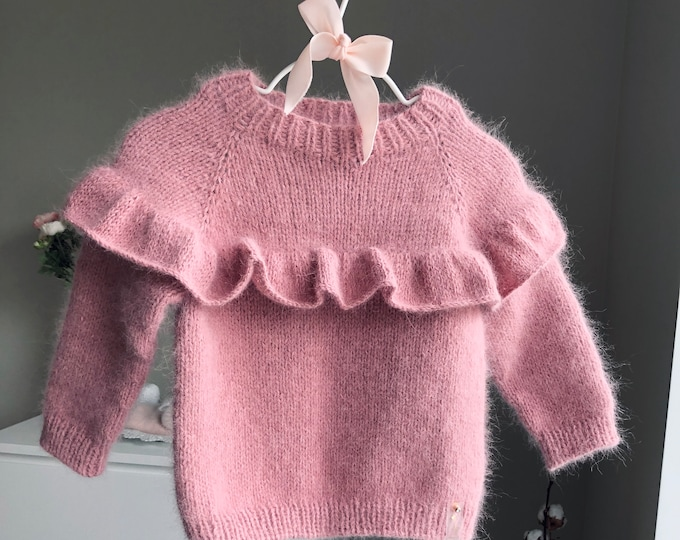 Featured listing image: 12-18 months Angora jumper - Baby girl - Baby boy - Toddler jumper- Toddler baby - Angora sweater - Baby jumper- White angora -Fluffy jumper