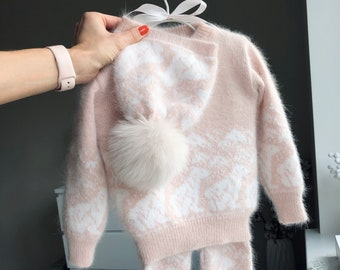 18-24 months - Set of 3 - Baby girl outfit - Baby girl set - Winter girl outfit - Girls knitting set - Angora - Pale pink - Baby girl