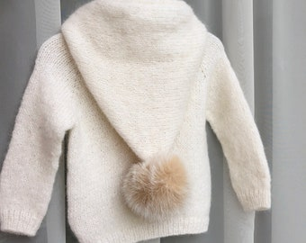 1-2 years - Baby boy cardigan - Baby girl - Cashmere cardigan - Cardigan with hood - Baby girl - Baby boy - Pom pom cardigan