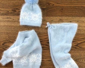 18-24 months - Set of 3 - Baby boy outfit - Baby boy set - Winter boy outfit - Boys knitting set - Angora - Baby boy - Baby photography