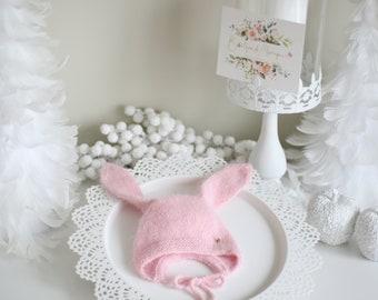 Bunny  bonnet - Angora bonnet - Bunny hat - Toddler baby - Baby girl - Baby boy - Girl hat - Boy hat - Toddler bunny - Toddler hat - Angora