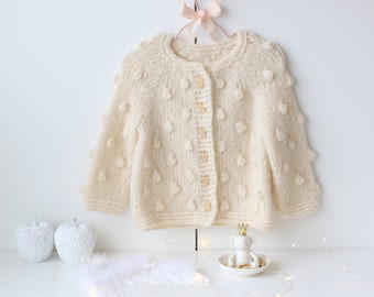 18-24 months - Baby cardigan - Sitter baby - Sitter cardigan - Popcorn cardigan - Baby - Photography props - Ivory cardigan - Baby cardigan