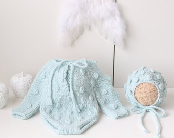 Newborn  baby set - Baby boy - Newborn boy - Props - Newborn bonnet - Baby romper - Baby boy set - Romper and bonnet - Mint blue - Boy