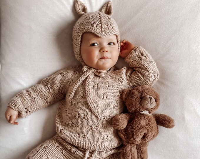 Featured listing image: Sitter  baby set - Baby girl - Toddler boy - Toddler pants - Sitter sweater- Baby boy set - Sweater and pants - Beige - Set of 3 - Elf hat
