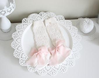 Baby high knee socks - Knitted socks - Baby socks - Lace socks - Socks with a bow - Merino - Cream - Baby girl - High knee socks