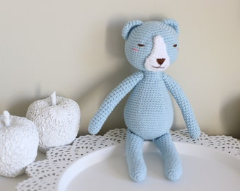 Baby toy - Crochet baby toy - Bear toy - Crochet bear - Baby boy toy - Baby first toy - Blue toy - Baby boy - Crochet toys