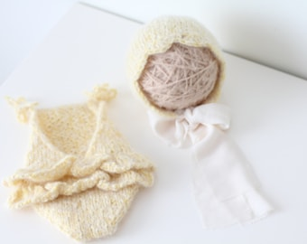 Newborn props - Newborn romper - Baby girl props - Photo props - Newborn girl - Baby photo prop - Newborn baby photo - Yellow -Baby girl