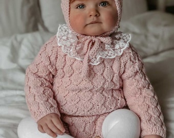 Set of 2 - Baby girl - Toddler girl - Toddler bonnet - Sitter romper - Baby girl set - Romper and bonnet - Pale pink - Romper set