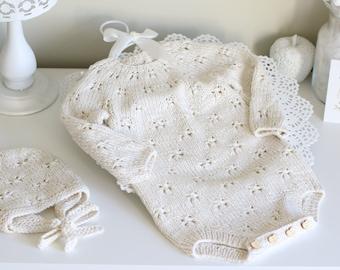 Sitter baby set - Baby boy - Toddler girl - Toddler bonnet - Sitter romper - Baby boy or girl set - Romper and bonnet - Cream set - Girl set
