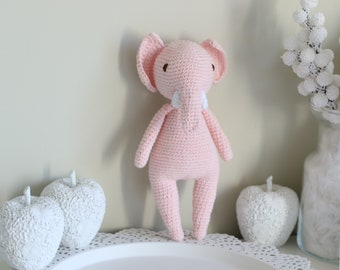 Baby toy - Crochet baby toy - Elephant toy - Crochet elephant - Baby boy toy - Baby first toy - Pale pink toy - Baby boy - Crochet toys