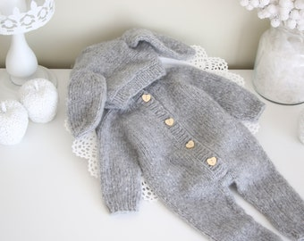 3-6 months - Bunny outfit - Easter outfit - Baby girl bunny - Baby bunny outfit - Easter bunny - Bunny romper - Grey - Long legs romper
