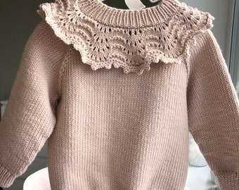 2-3 years sweater - Baby sweater - Baby jumper - Baby girl - Girl outfit - Merino sweater - Beige - Toddler girl - Sweater