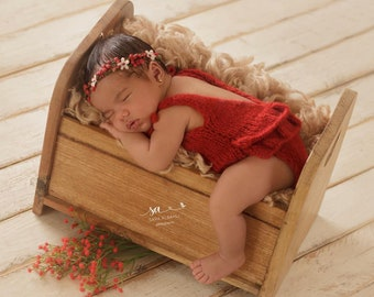 Newborn props - Newborn romper - Baby girl props - Photo props - Christmas day - Newborn Christmas - Newborn baby photo - Red - Baby girl