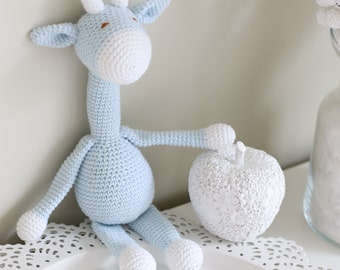Baby toy - Crochet baby toy - Giraffe toy - Crochet giraffe  - Baby boy toy - Baby first toy - Pale blue toy - Baby boy - Crochet toys