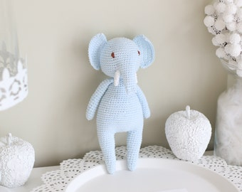 Baby toy - Crochet baby toy - Elephant toy - Crochet elephant - Baby boy toy - Baby first toy - Pale blue toy - Baby boy - Crochet toys