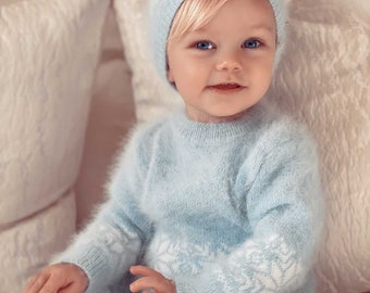 Set of 3 - Baby boy outfit - Baby boy set - Winter boy outfit - Boys knitting set - Angora - Pale blue - Baby boy - Baby photography