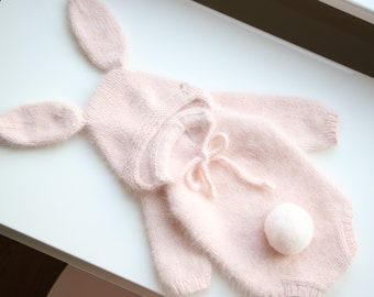 Baby romper - Angora romper - Baby girl romper - Baby girl romper - Bunny bonnet - Girl bonnet - Baby girl - Pale pink - Bunny outfit