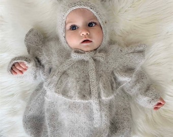 Set of 2 - Ruffle romper - Long sleeve romper - Baby girl props - Photo props - Sitter girl - Baby photo - Sitter baby photo - Grey