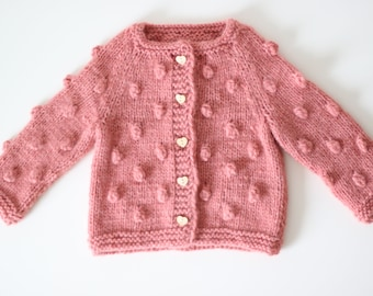 Toddler cardigan - Baby sweater - Sitter baby - Sitter cardigan - Popcorn cardigan - Baby- Photography props - Coral cardigan -Baby cardigan