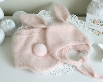 Bunny set - Photo prop hat - Baby girl bunny - Baby bonnet - Pom pom bonnet - Girl hat - Baby bloomers  - Baby girl - Pale pink angora hat