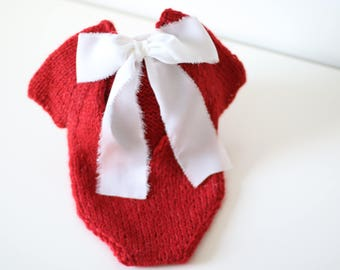 Newborn Christmas - Newborn romper - Baby girl props - Photo props - Newborn girl - Baby photo prop - Newborn baby photo - Red- Baby girl