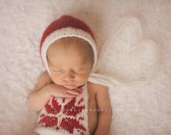 Newborn props - Newborn romper - Baby girl props - Photo props - Newborn christmas- Christmas props - Newborn baby photo - Cream - Baby girl