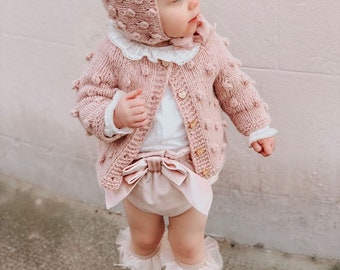 Cardigan - Sitter baby - Sitter cardigan - Popcorn cardigan - Baby - Photography props - Dusty pink cardigan - Baby cardigan - Baby girl