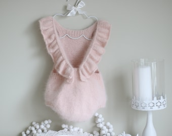 Angora ruffle romper - Baby girl - Toddler romper - Toddler baby - Angora romper - Baby girl romper - Pale pink angora - Fluffy romper