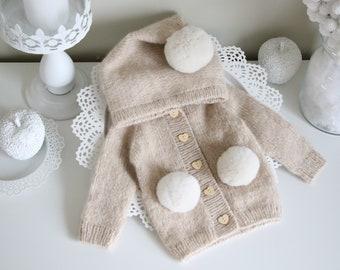 0-3 months - Baby girl cardigan - Baby girl - Cashmere cardigan - Cardigan with hood - Baby girl - Baby boy - Cashmere - Pom pom cardigan