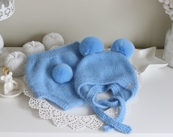 Bear set - Photo prop hat - Baby boy bear - Baby boy hat - Photo props - Boy hat - Baby boy bloomers  - Baby boy - Blue angora set