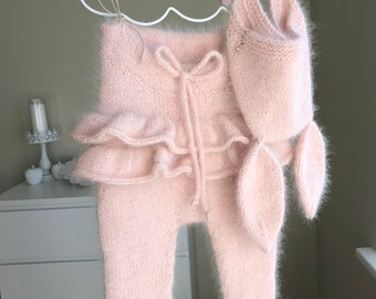 Baby girl pants - Baby pants - Baby girl - Pants - Girls pants - Angora - Toddler pants - Baby girl pink pants - Pale pink - Ruffle pants