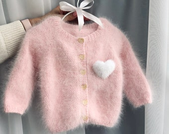 18-24 months  - Baby cardigan - Angora cardigan  - Baby girl - Baby outfit - Girl outfit - Pale pink cardigan - Toddler girl - Cardigan