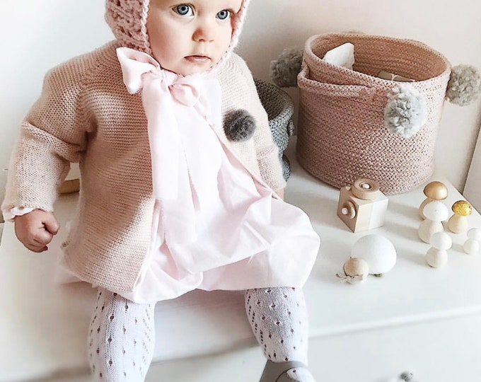 Featured listing image: 9-12 months girl hat - Photo prop hat - Sitter props - Baby girl hat - Photo props - Girl hat - Photography 9-12 months props - Soft pink