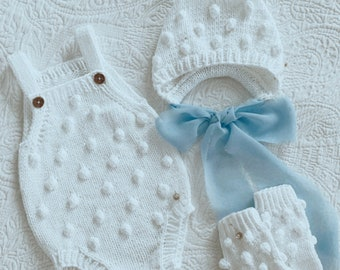 Set of 3 - Cotton set - Baby girl set - Baby boy set - Popcorn set - white cotton - summer outfit - cotton