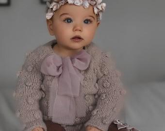 Sitter romper - Long sleeve romper - Baby girl props - Popcorn romper - Sitter girl - Baby photo prop - Sitter baby photo - Baby girl