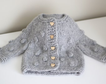 Cashmere - Baby cardigan - Sitter baby - Sitter cardigan - Popcorn cardigan - Baby - Photography props - Gray  cardigan - Baby cardigan