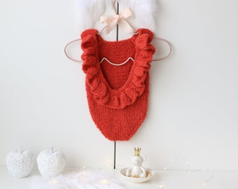 Newborn Christmas - Newborn romper - Baby girl props - Photo props - Newborn girl - Baby photo prop - Newborn baby photo - Bright red - Baby