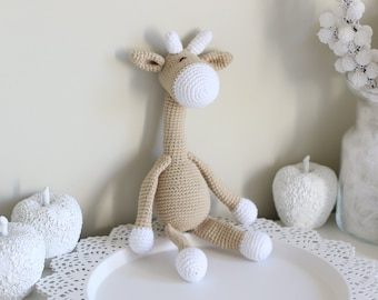 Baby toy - Crochet baby toy - Giraffe toy - Crochet giraffe  - Baby boy toy - Baby first toy - Beige - Toy - Baby boy - Crochet toys